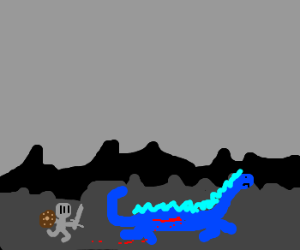 Child Knight chases wounded dragon
