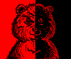 Bear that is half good and half evil.