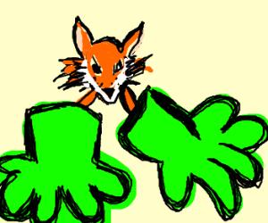 a fox wearing huge green gloves