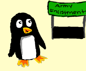 Penguin tries to enlist in Army