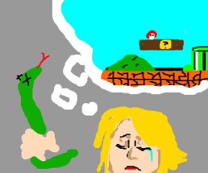 Blonde Girl With Dead Snake Missed Mario Bros