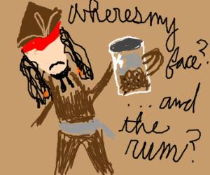 Jack Sparrow has a jar of dirt - but no face.