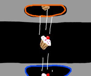 Cupcake caught between portals.