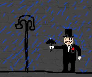 Gentleman needs a bigger umbrella