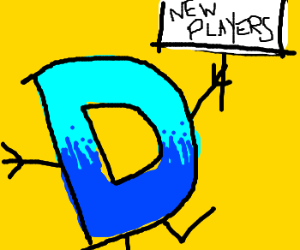 Drawception D sign waving for new players