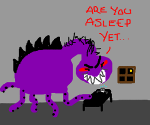"Purple Monster asks ""Are you asleep yet?"""