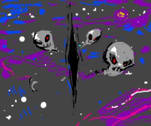 Dimensional rift opens, spews heads!