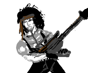Rambo traded machine gun for a guitar
