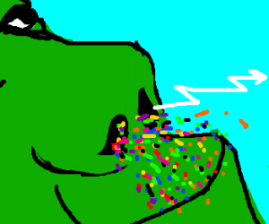 Giant ogres nose shoots lightning and confetti