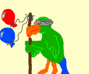 An eyeless pirate parrot with a balloon staff