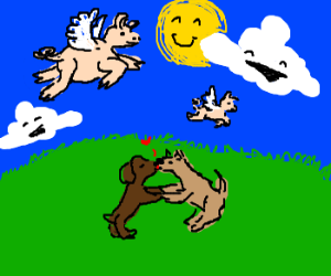 Pigs fly, dogs kiss, clouds laugh. Happy days.