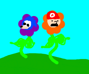 Sonic & Mario genetically crossed with flowers
