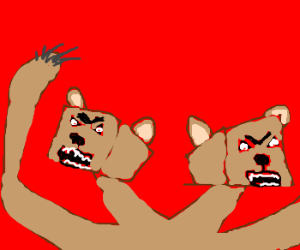 Two headed, block-shaped bear monster