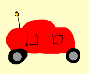 Pedobear driving a red car