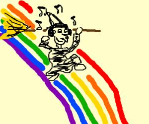 Witch enjoys music on a rainbow bridge