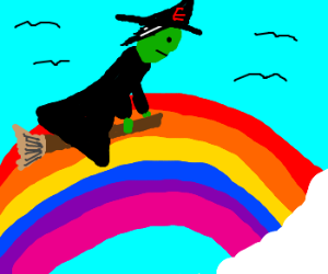 wicked witch of the east flies over rainbow