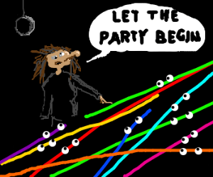 Ugly woman tells the colorful lines to party
