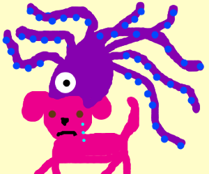Pink dog sad as purple squid suckles its head