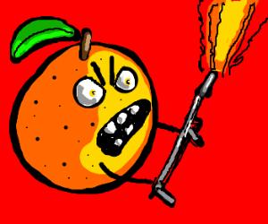 Wax Fruit War - Orange uses a flamethrower.