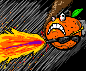 Pyromaniac orange with a flamethrower