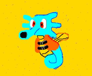 Horsea (Pokemon) wearing a lifejacket.