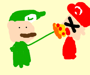 Luigi force-feeds Mario purple pizza