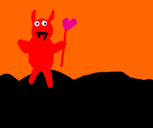 Devil attempts image redo; pitchfork of 'wuv'