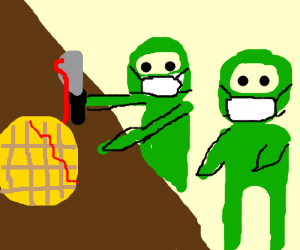 Surgeons (green ninjas) operate on breakfast