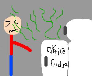 Moldy leftovers stinking up the office fridge