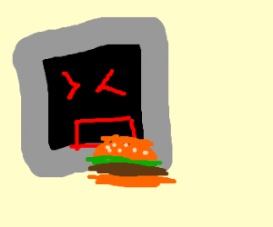Angry TV type thing eats burger