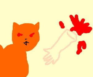 Orange vampire cat shreds bodies to pieces