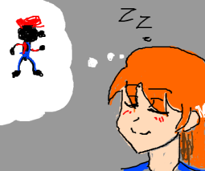 Ginger girl dreams about MrGame&Watch as Mario