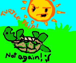 Sun being a jerk( as usual)bullies a turtle.