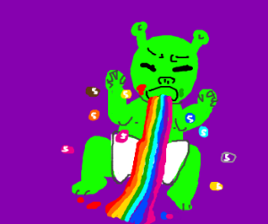 Shreck Baby Vomits Forth Rainbow of Skittles