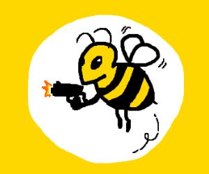 a bee with a gun