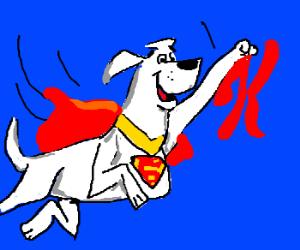 Krypto the super dog chases a tiny flying K.