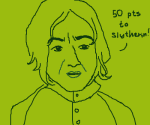 Unhappy Snape awards Slytherin 50 points.