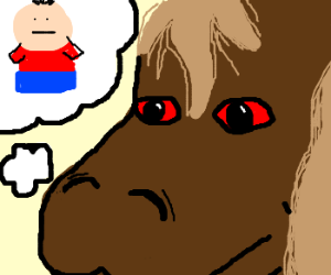 Red eyed horse thinks of a person