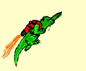 Green weasel with a jetpack