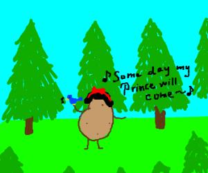 Potato sings in forest