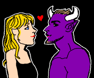 Blonde girl in love with purple demon