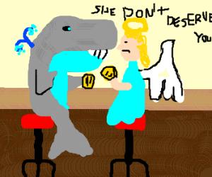 A whale comforts an angel at a bar