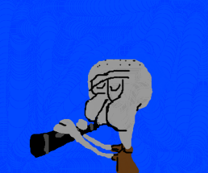 Squidward playing his clarinet - Drawception