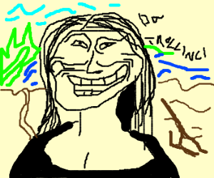 da Vinci paints the magnificent M- Trollface??