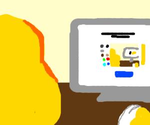 A yellow blob draws itself on Drawception