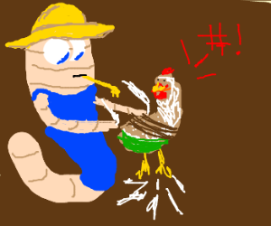Farmer worm plucks a live chicken in pants.