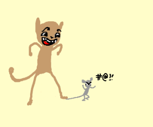 Cat stepping on mouse's tail, laughing.