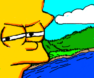 Lisa Simpson looking suspicious by the river