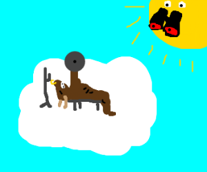 Sun watches minotaur work out on cloud
