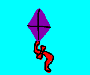 purple kite with a red string